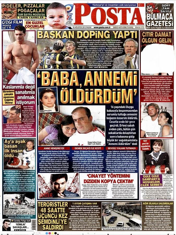 Gazete Manşetleri - 26 Ağustos Pazar 13