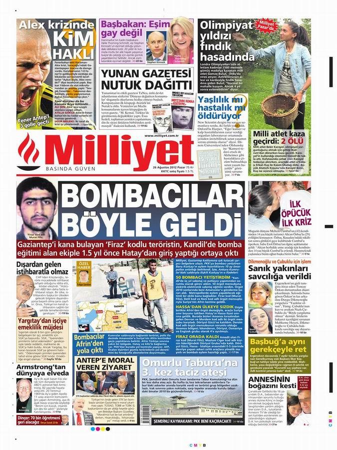 Gazete Manşetleri - 26 Ağustos Pazar 15