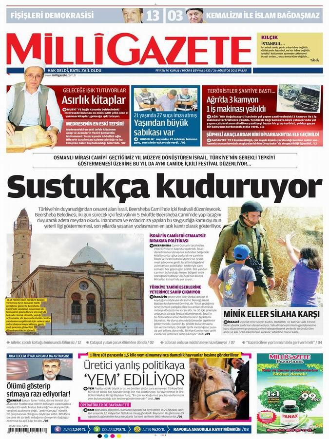 Gazete Manşetleri - 26 Ağustos Pazar 16
