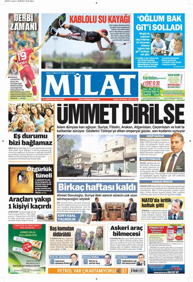 Gazete Manşetleri - 26 Ağustos Pazar 17