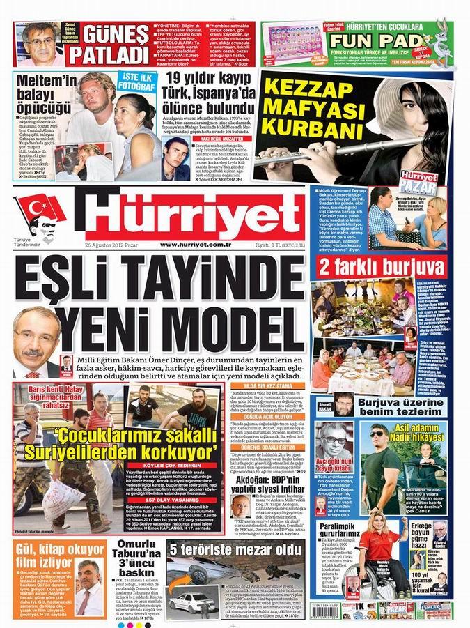 Gazete Manşetleri - 26 Ağustos Pazar 18