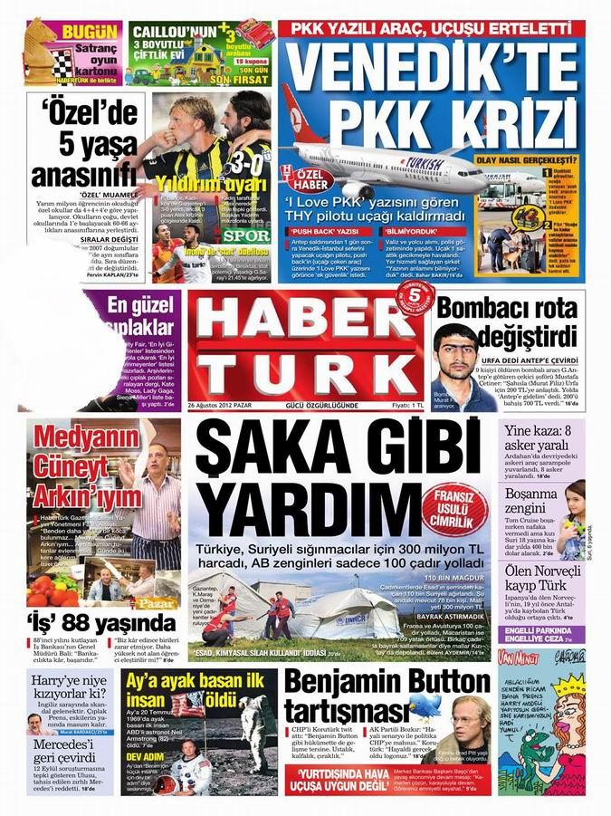 Gazete Manşetleri - 26 Ağustos Pazar 19