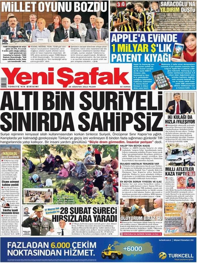 Gazete Manşetleri - 26 Ağustos Pazar 2