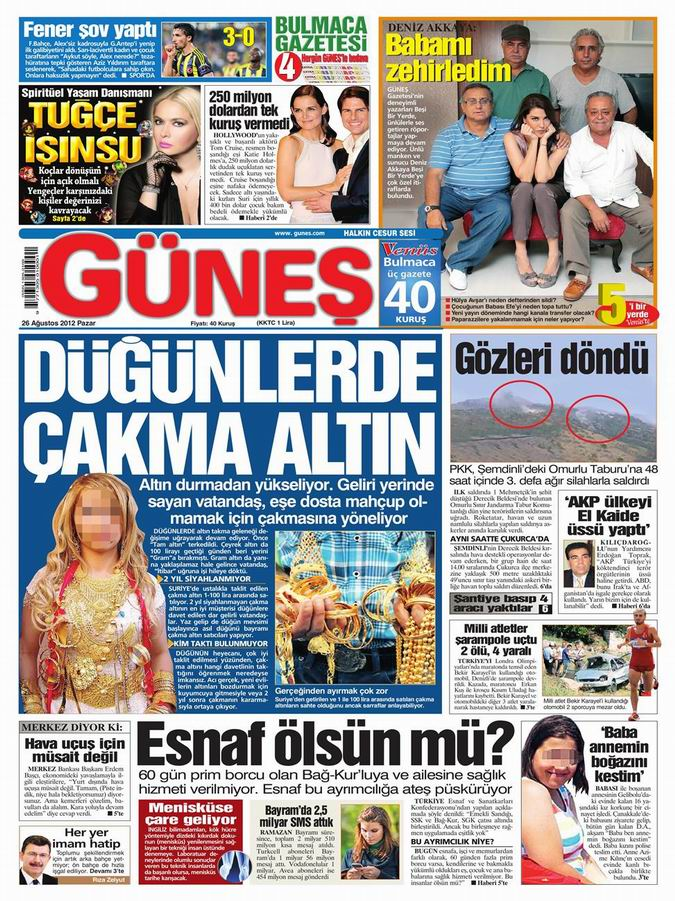 Gazete Manşetleri - 26 Ağustos Pazar 20