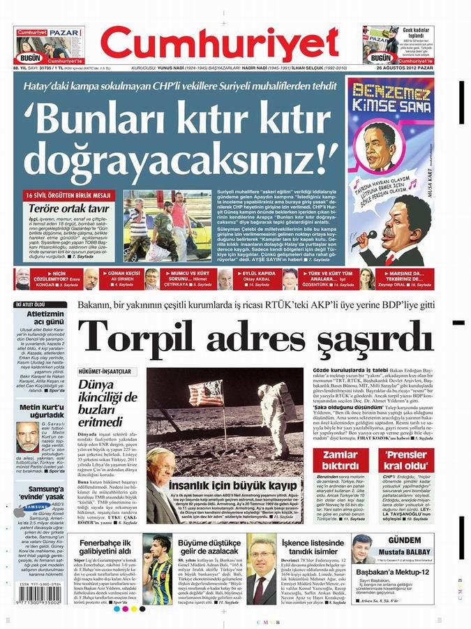 Gazete Manşetleri - 26 Ağustos Pazar 21