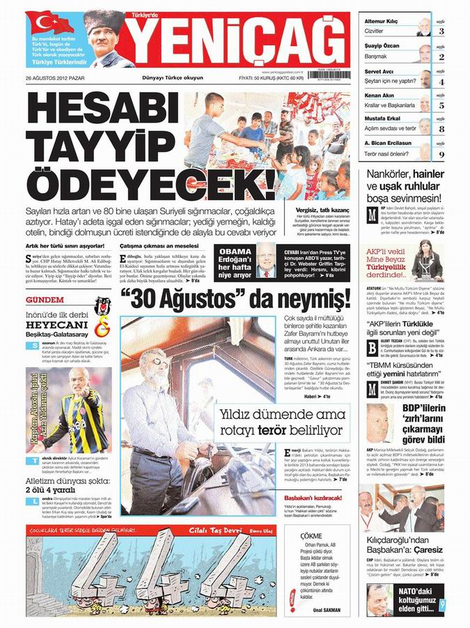 Gazete Manşetleri - 26 Ağustos Pazar 6