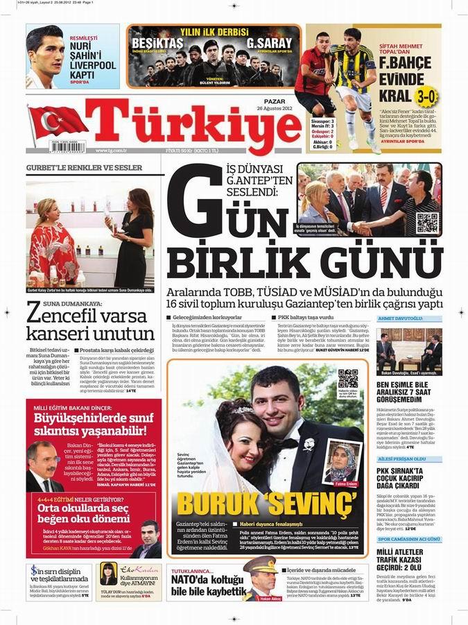 Gazete Manşetleri - 26 Ağustos Pazar 7