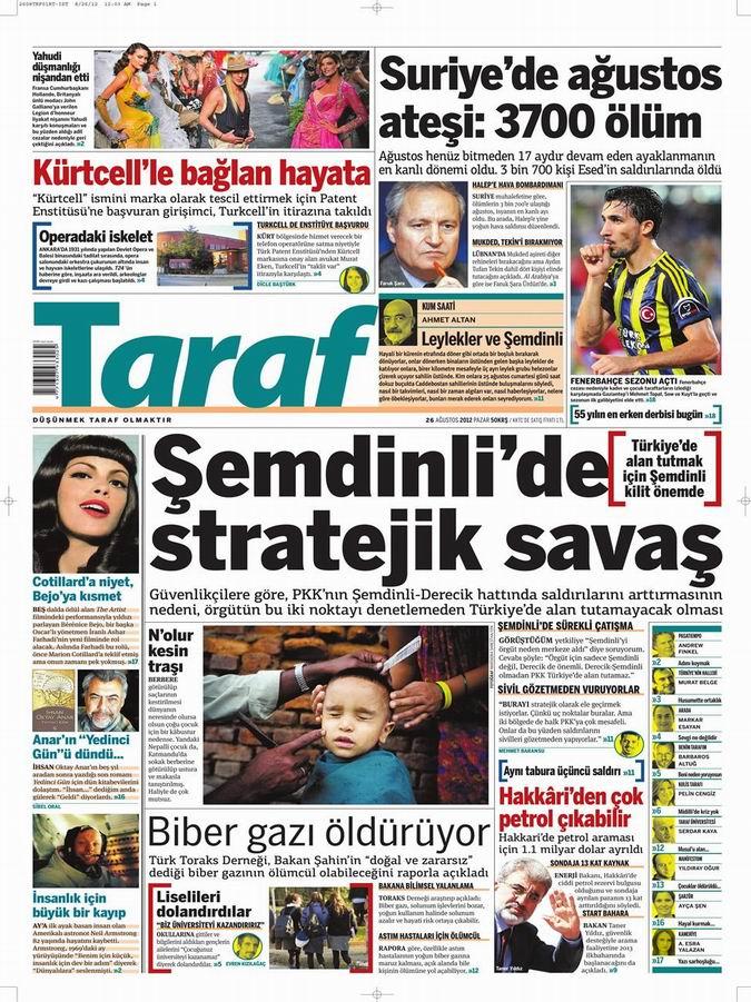 Gazete Manşetleri - 26 Ağustos Pazar 8