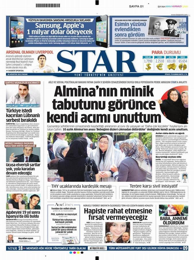 Gazete Manşetleri - 26 Ağustos Pazar 9