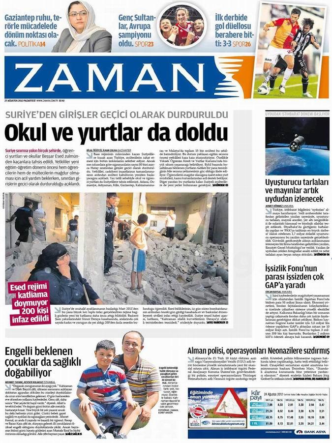 Gazete Manşetleri - 27 Ağustos Pazartesi 1