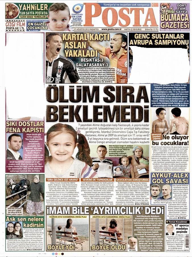 Gazete Manşetleri - 27 Ağustos Pazartesi 11