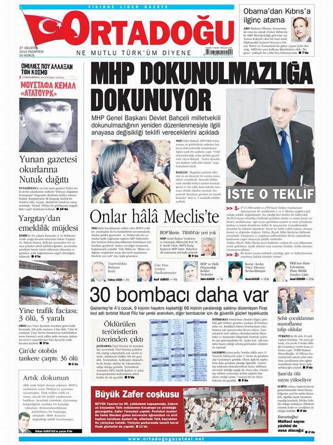 Gazete Manşetleri - 27 Ağustos Pazartesi 12