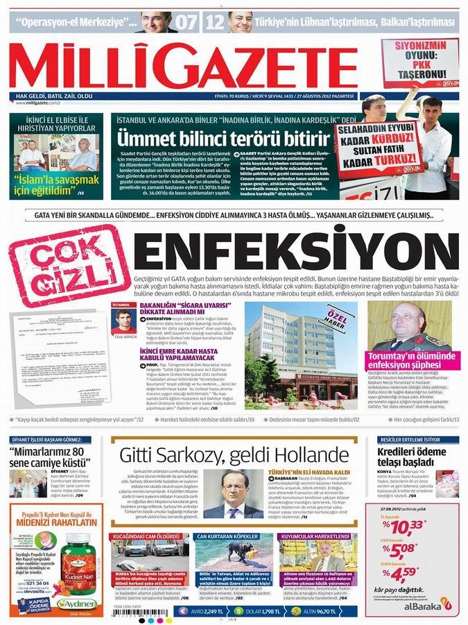 Gazete Manşetleri - 27 Ağustos Pazartesi 13