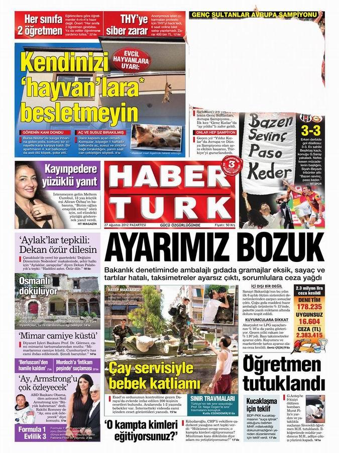 Gazete Manşetleri - 27 Ağustos Pazartesi 15