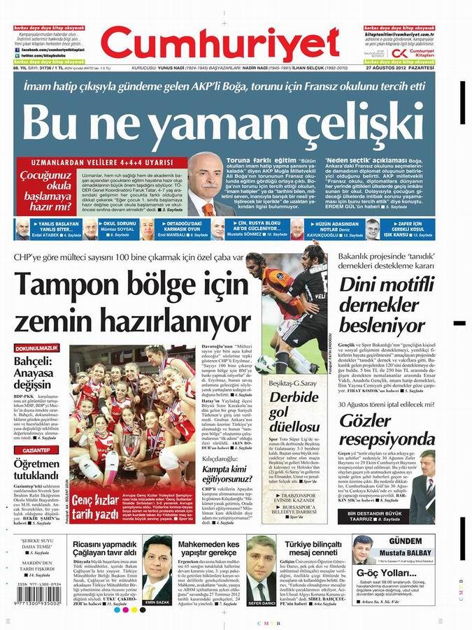 Gazete Manşetleri - 27 Ağustos Pazartesi 17