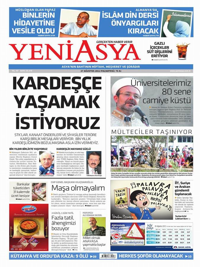 Gazete Manşetleri - 27 Ağustos Pazartesi 3