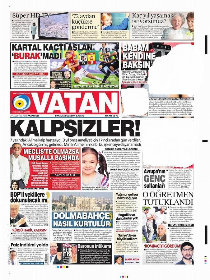 Gazete Manşetleri - 27 Ağustos Pazartesi 5