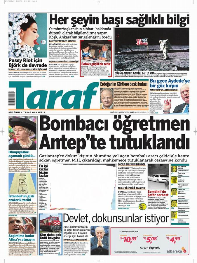 Gazete Manşetleri - 27 Ağustos Pazartesi 6