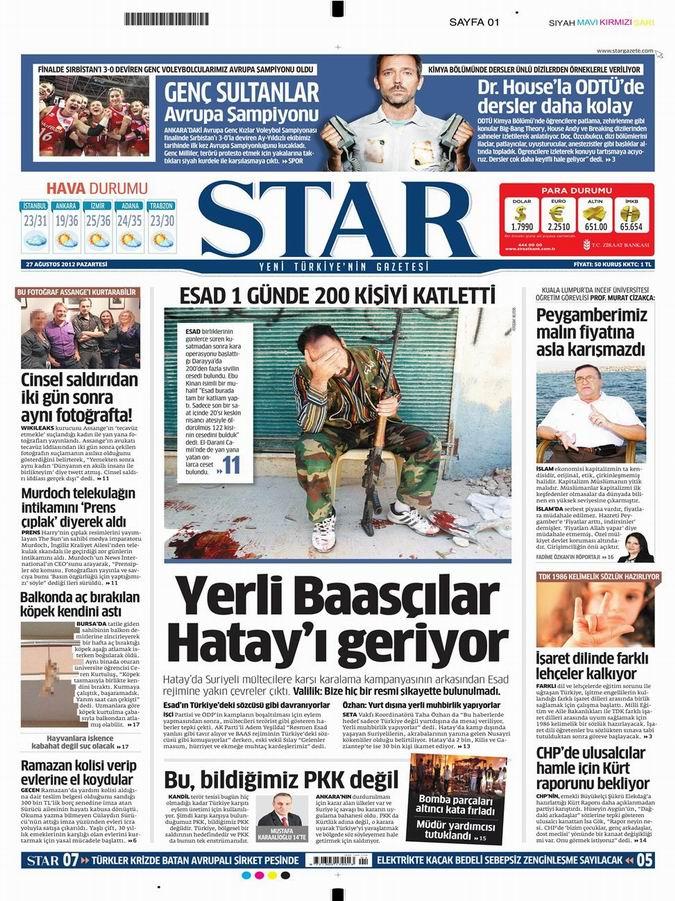 Gazete Manşetleri - 27 Ağustos Pazartesi 7
