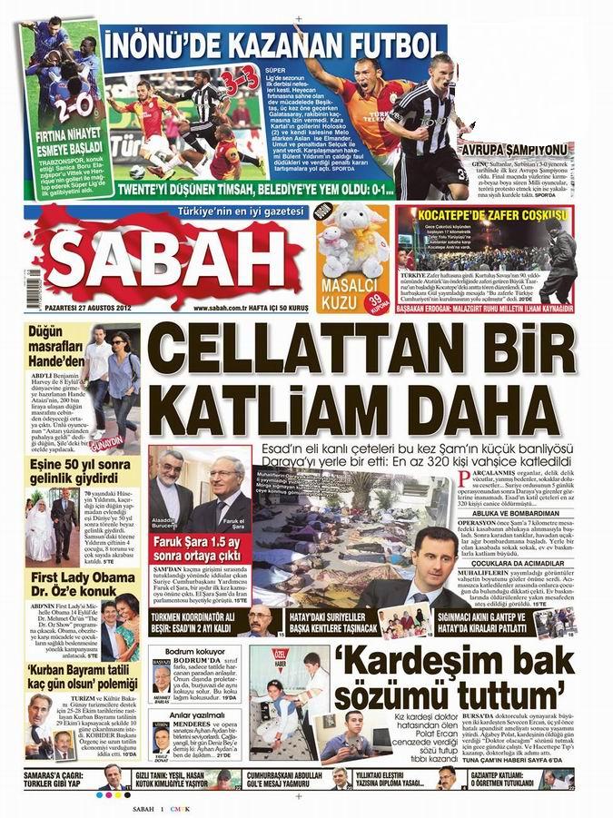 Gazete Manşetleri - 27 Ağustos Pazartesi 9