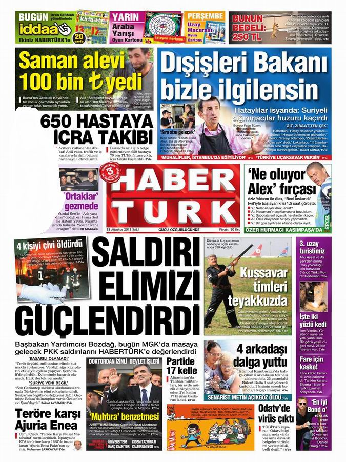 Gazete Manşetleri - 28 Ağustos Salı 18