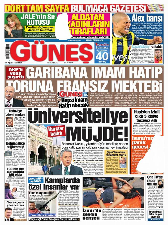 Gazete Manşetleri - 28 Ağustos Salı 19