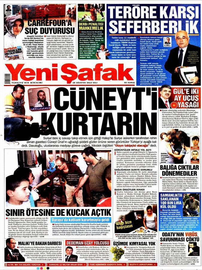 Gazete Manşetleri - 28 Ağustos Salı 2