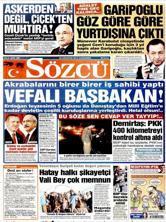 Gazete Manşetleri - 29 Ağustos Çarşamba 11