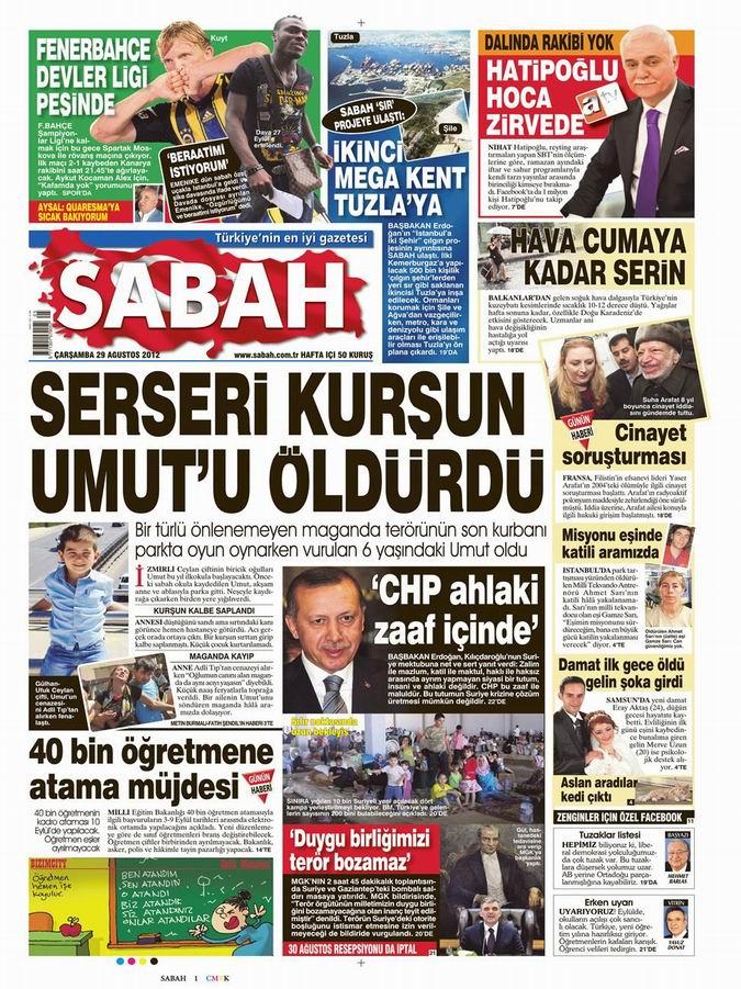 Gazete Manşetleri - 29 Ağustos Çarşamba 12