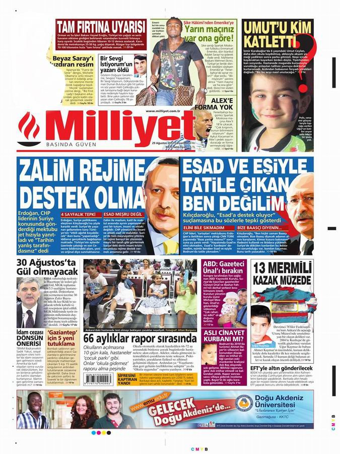Gazete Manşetleri - 29 Ağustos Çarşamba 15