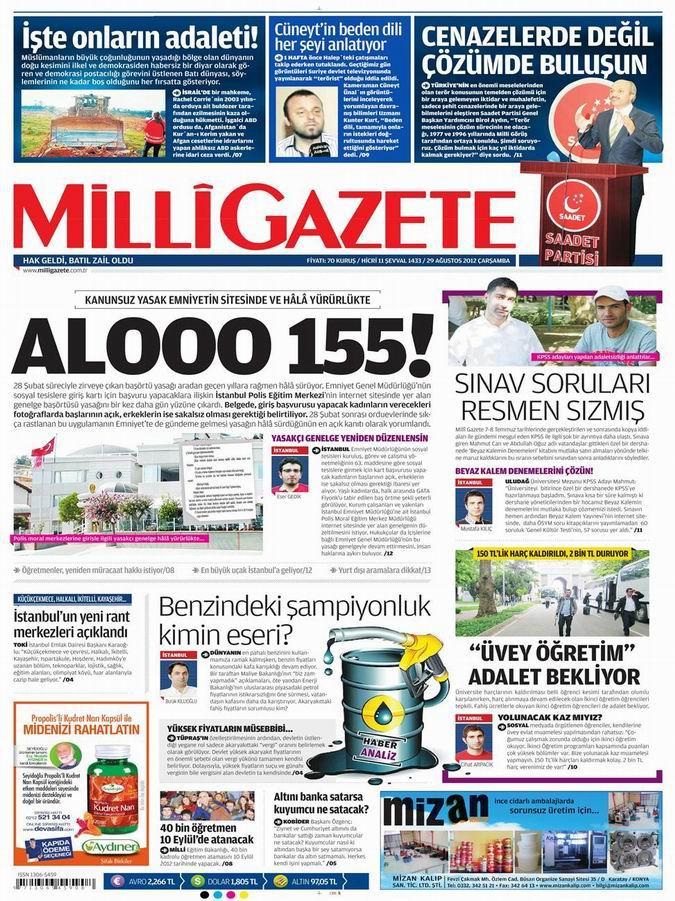 Gazete Manşetleri - 29 Ağustos Çarşamba 16