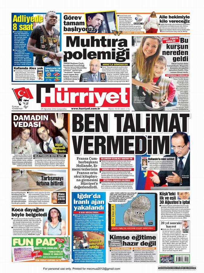 Gazete Manşetleri - 29 Ağustos Çarşamba 17