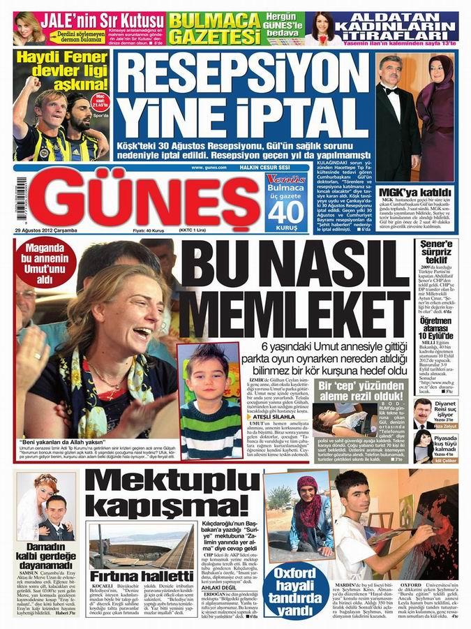 Gazete Manşetleri - 29 Ağustos Çarşamba 19