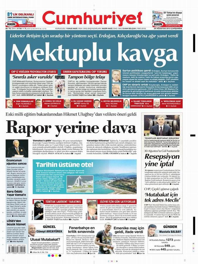 Gazete Manşetleri - 29 Ağustos Çarşamba 21