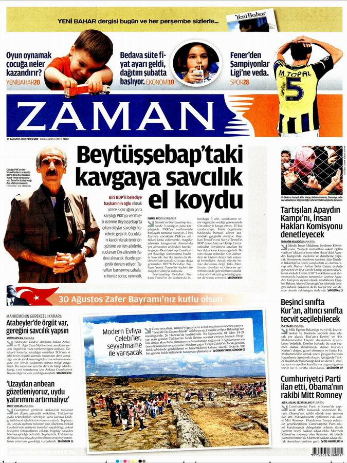 Gazete Manşetleri - 30 Ağustos Perşembe 1