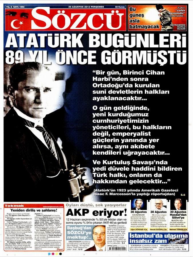 Gazete Manşetleri - 30 Ağustos Perşembe 10