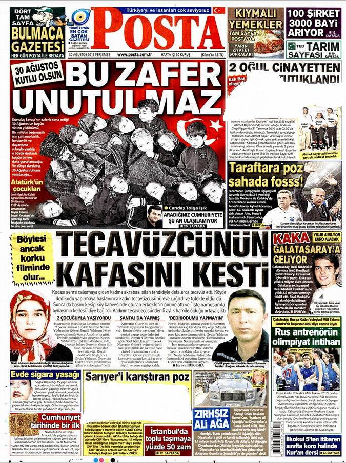 Gazete Manşetleri - 30 Ağustos Perşembe 13