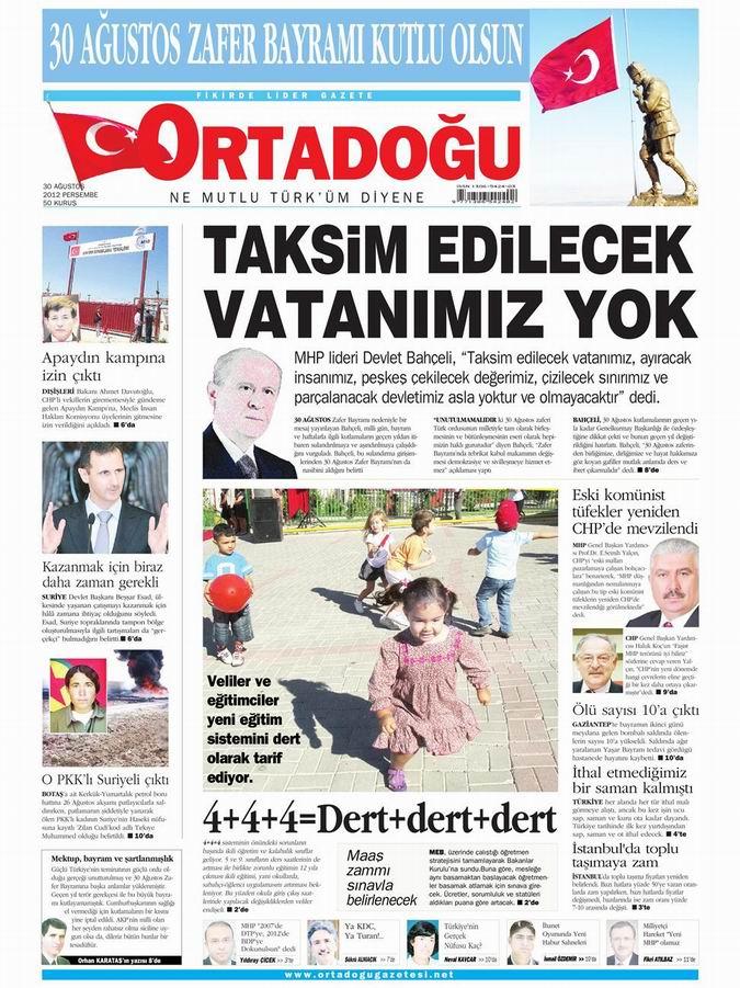 Gazete Manşetleri - 30 Ağustos Perşembe 14