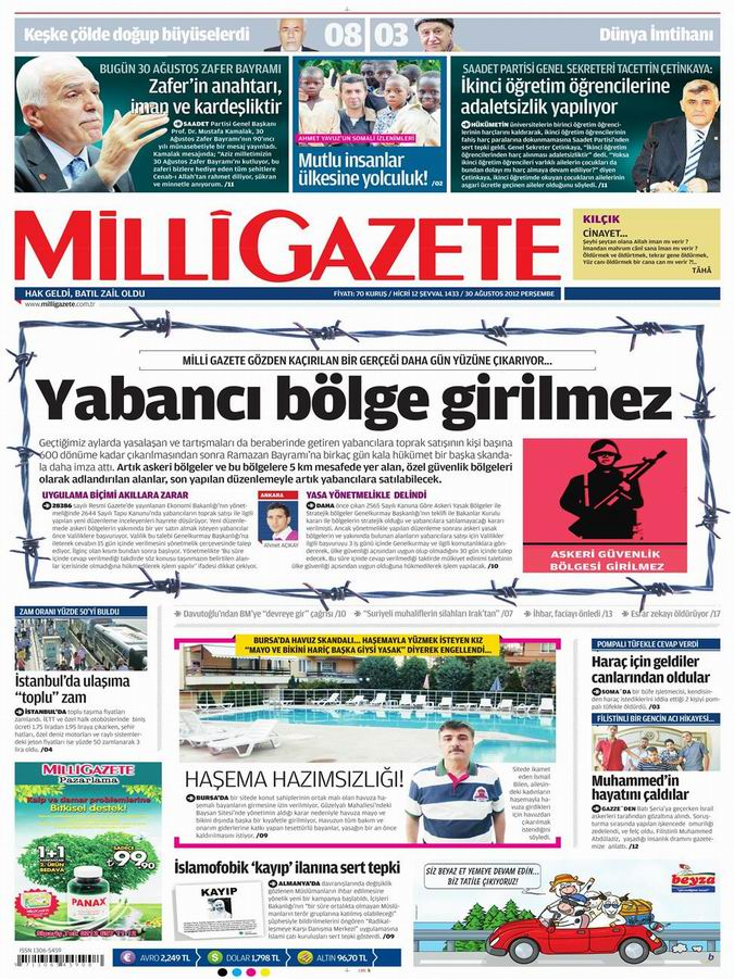 Gazete Manşetleri - 30 Ağustos Perşembe 16