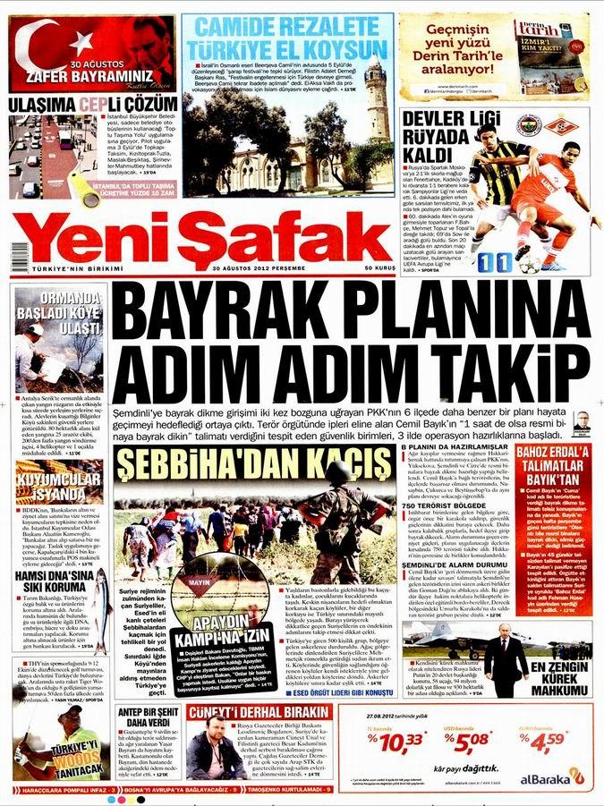 Gazete Manşetleri - 30 Ağustos Perşembe 2