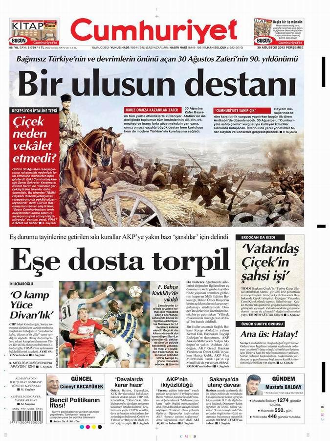 Gazete Manşetleri - 30 Ağustos Perşembe 20