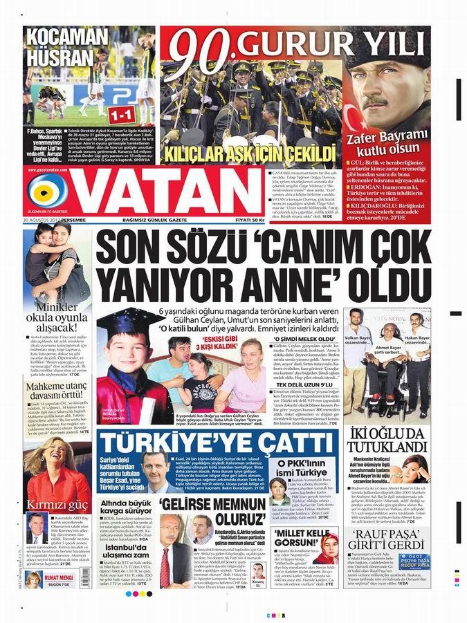 Gazete Manşetleri - 30 Ağustos Perşembe 5