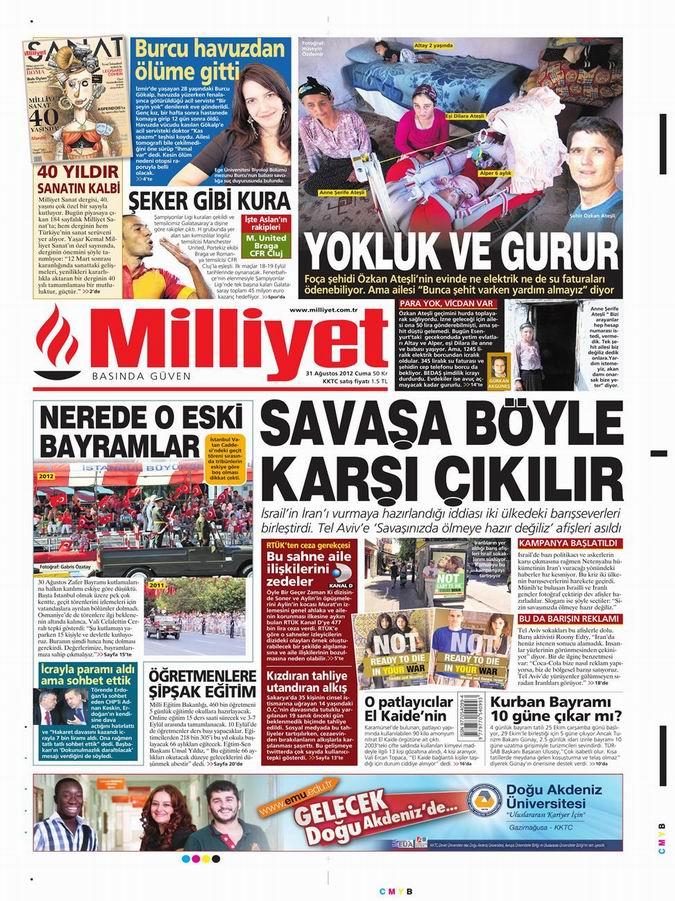 Gazete Manşetleri - 31 Ağustos Cuma 15