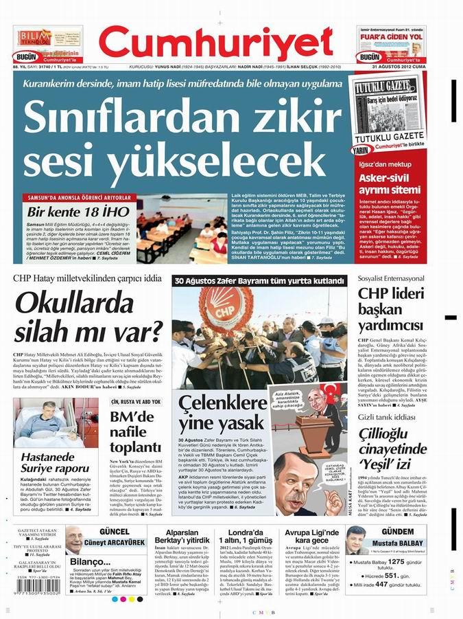 Gazete Manşetleri - 31 Ağustos Cuma 21