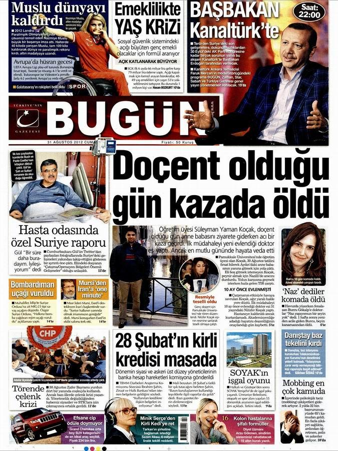 Gazete Manşetleri - 31 Ağustos Cuma 22