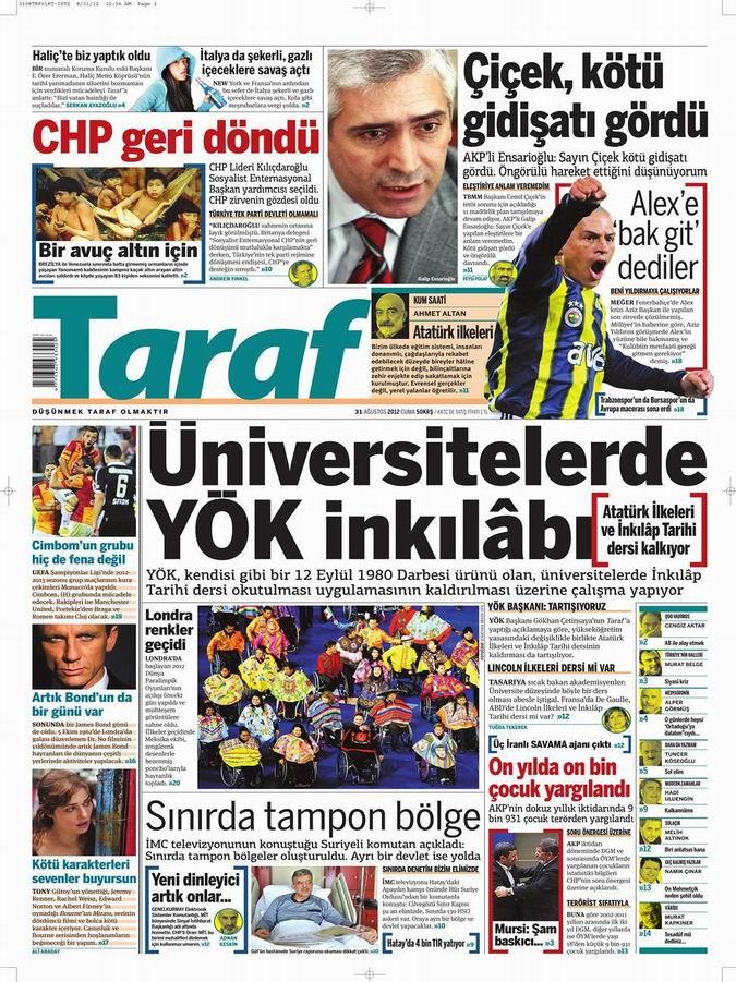 Gazete Manşetleri - 31 Ağustos Cuma 8