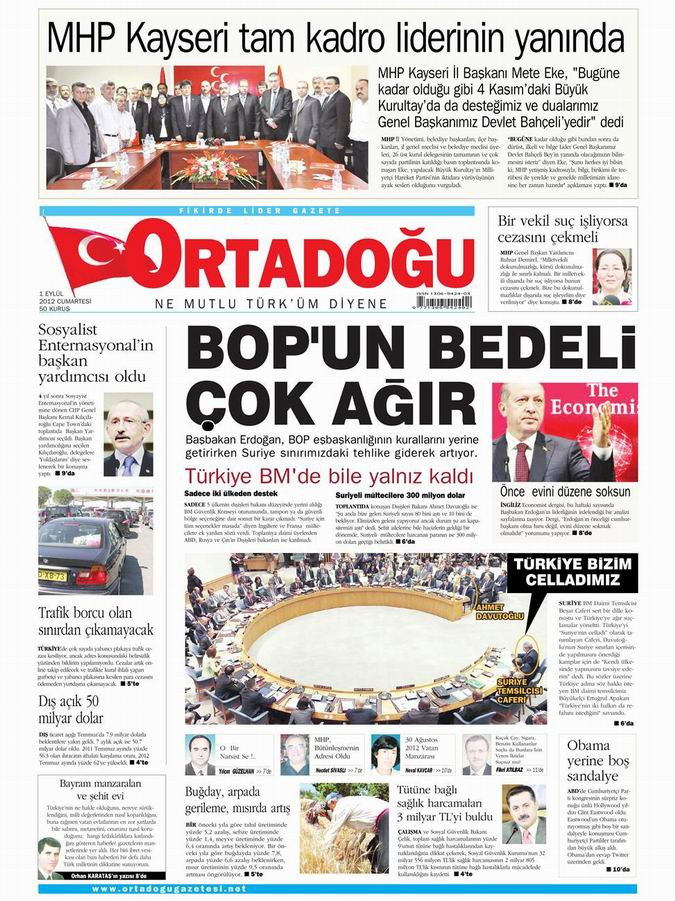Gazete Manşetleri - 1 Eylül Cumartesi 13