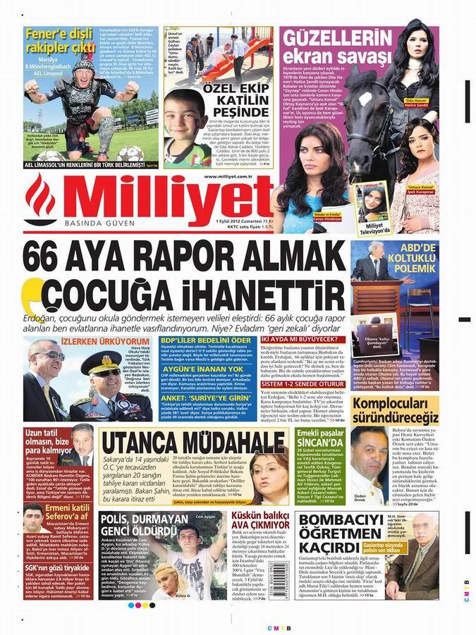 Gazete Manşetleri - 1 Eylül Cumartesi 14