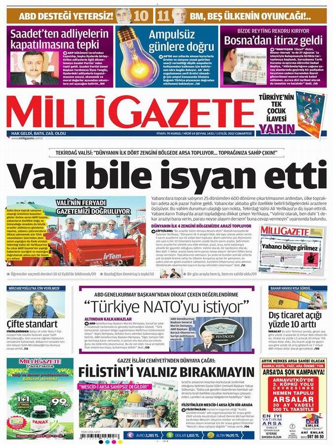 Gazete Manşetleri - 1 Eylül Cumartesi 15