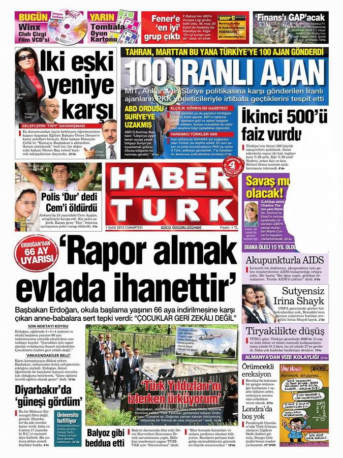 Gazete Manşetleri - 1 Eylül Cumartesi 18